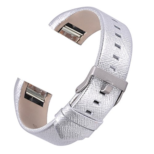 bayite Leather Bands Compatible with Fitbit Charge 2, Replacement Accessories Straps Women Men, -