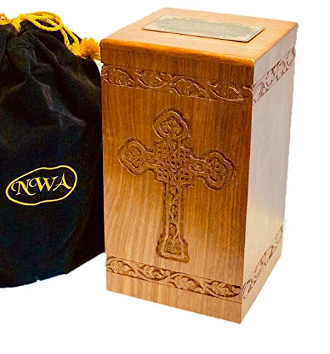 NWA Trinity Hand Carved Cross Wooden Adult Size Human Funeral Cremation Urn with Engraving