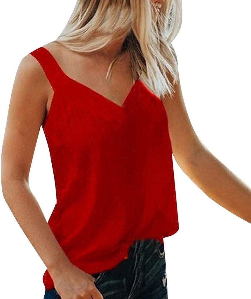 WDTSA Womens V-Neck Sleeveless Solid Camis Blouse Shirt Ladies Sleeveless Tops