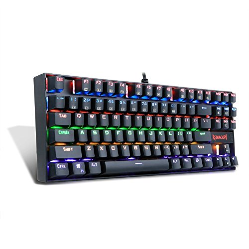 Mechanical gaming keyboard ergonomic tenkeyless Redragon K552-R RGB LED rainbow backlit for pc with Blue switch (Black)