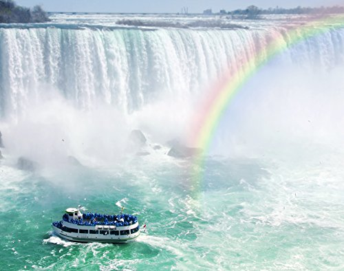 Wentworth Rainbow and Tourist Boat at Niagara Falls 250 Piece Wooden Puzzle with Whimsy Shaped - Rainbow Waterfall