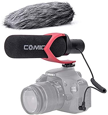 Sony,Panasonic,Fuji,Olympus DSLR Cameras Comica CVM-V30PRO R 3.5mm on Camera Microphone Directional Condenser Shotgun Video Microphone Interview Mic for Canon,Nikon with Wind Muff