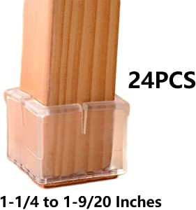 Bloss Chair Leg Caps Feet Pads for Furniture Wood Floor Protectors Prevent Scratches Fit Square Chair Legs Length 1-1/4 to 1-9/20 Inches (3.2-3.7cm) (Pack of 24)