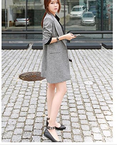 Lingswallow Womens Classic Drape Lapel Open Front Long Jacket Blazer Trench Coat, Grey, Tag Size XXL=US 10 Photo #4