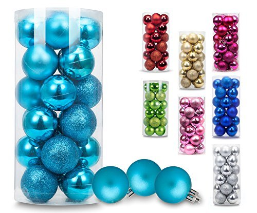 AMS Christmas Ball Mini Ornaments Exquisite Colorful Balls Decorations Pendant Pack of 24pcs (40mm, Turquoise)