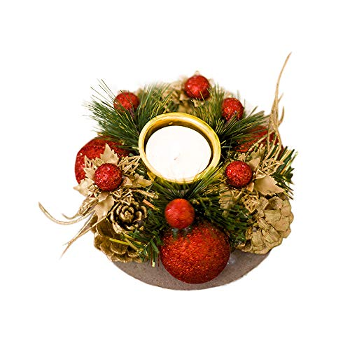 (Christmas Candle Holders Artificial tealightCandle Holder Handcraft Xmas Candle Ring Poinsettia Candle Holder Centerpiece With Pinecones Bauble for Christmas Decor 1PC (Red))