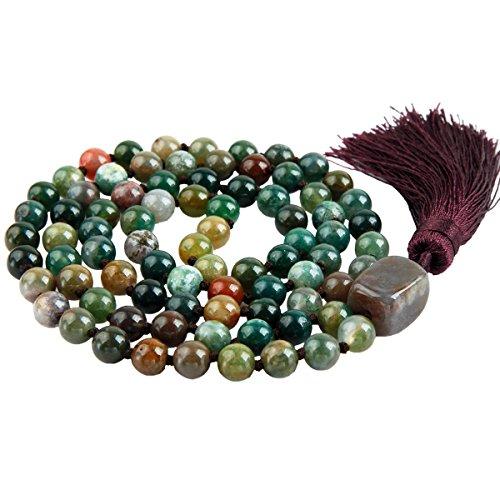 SUNYIK Moss Agate Wrap Bracelet,Beaded Necklace Tibetan Buddhist Prayer Beads ()