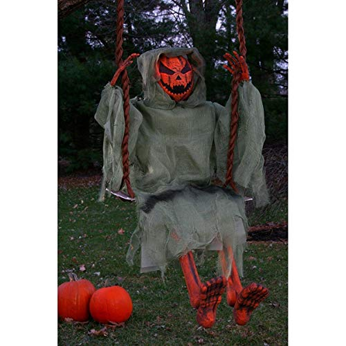 3 Foot Swinging Dead Pumpkin Reaper Halloween -