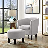 Small Accent Chairs Dazone Modern Accent Chair Upholstered Comfy Arm Chair Linen Fabric Single Sofa Chair with Ottoman Foot Rest Grey
