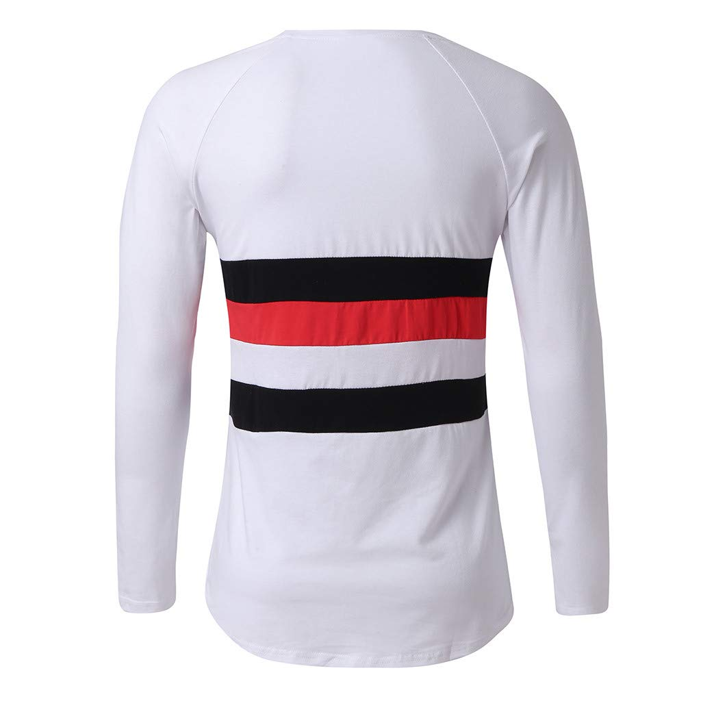Graysky Mens Casual Long Sleeve Shirt Thin Pullover Splices Tops T-Shirts Three Color for All Seasons