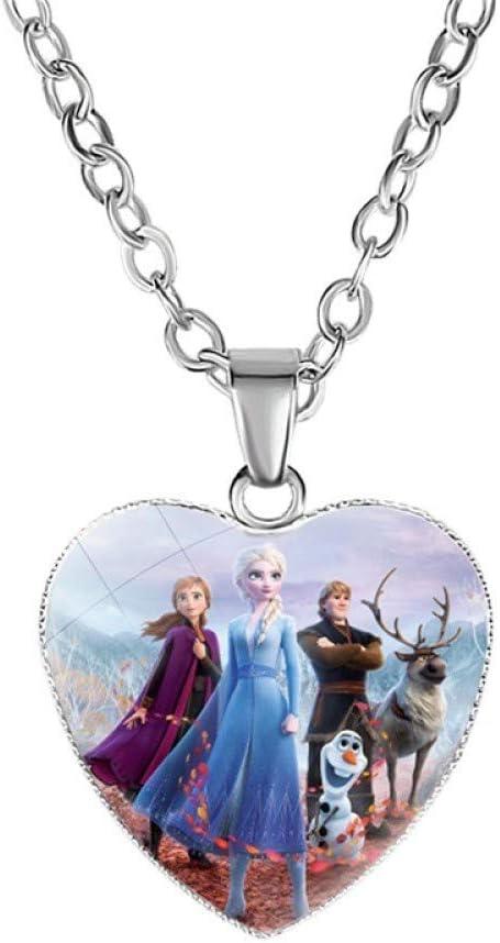 Bosi General Merchandise Frozen 2, Collar de Amor, Dibujos Animados para niños, Elsa, Princesa Anna, Colgante de Piedras Preciosas en Forma de corazón