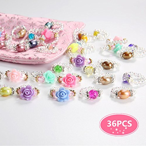PinkSheep Girl Ring Set, Finger Rings for Girls, 36CP, Kids Bead Rings