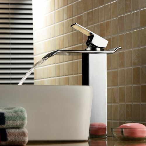 Contemporary Vessel Faucet (Contemporary Solid Brass Bathroom Sink Faucet Widespread Waterfall Lavatory Mixer Single Handle Deck Mounted Taps)
