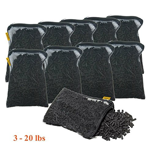 Aquacity Activated Charcoal Carbon in Free Mesh Media Bags for Aquarium Fish Pond Tank Canister Filter (10-Pack (10 lbs))