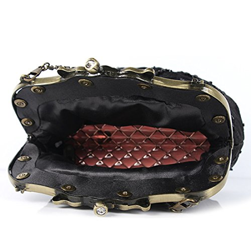 Interior Floral Beaded Lock Sequin Evening Satin Womens Clutch Red Kissing Design Vintage Handbag xORW8wxfqZ