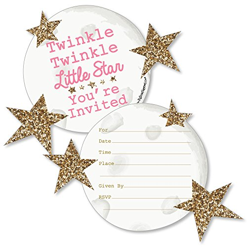 Pink Twinkle Twinkle Little Star - Shaped Fill-in Invitations - Baby Shower or Birthday Party Invitation Cards with Envelopes - Set of 12 -