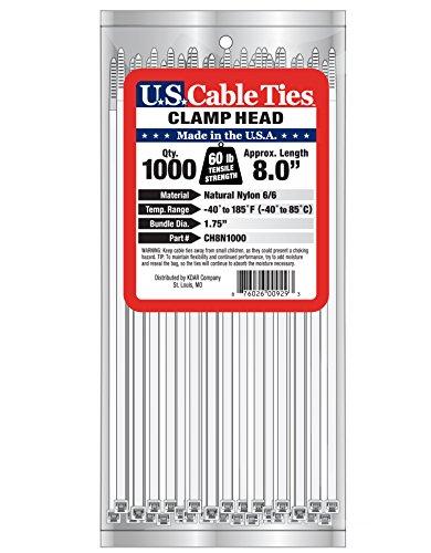 [해외]미국 케이블 타이 CH8N1000 8 인치 클램프 헤드 타이, 내추럴, 1000 팩/US Cable Ties CH8N1000 8-Inch Clamp Head Ties, Natural, 1000-Pack