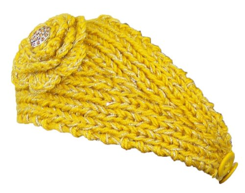 Sparkly Knit Winter Headband w/Jeweled Button (One Size) - Yellow (Jeweled Ear Warmer)