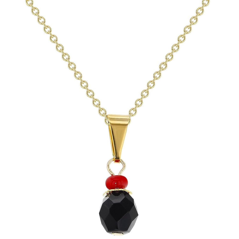 "14k Gold Plated Evil Eye Protection Jet Black Simulated Azabache Pendant Necklace 16"""