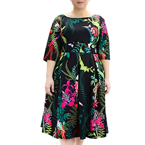 (Samtree Women's Plus Size Floral 3/4 Sleeve Backless Cocktail Party Swing Dress(Tag Size 7XL(US 22 W),Black+Green))