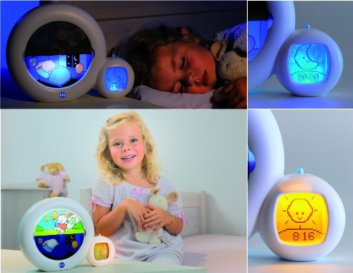 Claessens' Kids Kid'Sleep Moon Sleeptrainer Nightlight, White/Blue