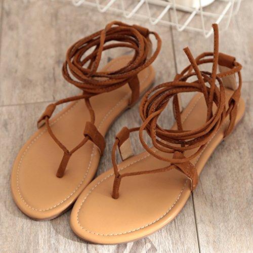 ahuecó RUGAI lazos señoras cruz sandalias Señoras black toe botas UE sandalias BBwpF