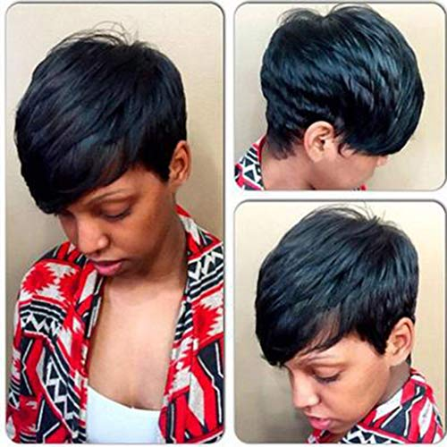 Short Wavy Bob Wigs with Bangs Shoulder Length Synthetic Curly Bob Wigs Short Black Wigs for Black Women Heat Resistant (a) -