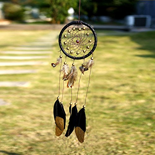 Soledi Dream Catcher Golden Black Feather Brown Feather Golden Bead 1 circle Indian Dreamcatcher Wall Hanging Decoration Ornament Gift Small Size Suit for Car Dec (Black Golden)