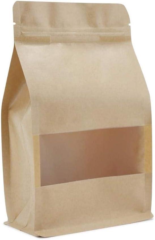 FUZHA Food Grade Kraft Paper Bag, Food Storage Home Supplies, Lock Stand Up Bags with Matte Window, Matte Bag Home Supplies(50pcs 14x24x6cm)