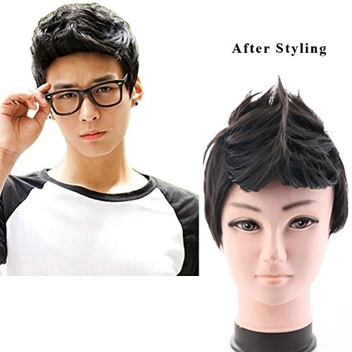 BERON New Fashion Cool Men Boys Short Synthetic Wig for Cosplay Party Photo Come with Wig Cap (Black) -