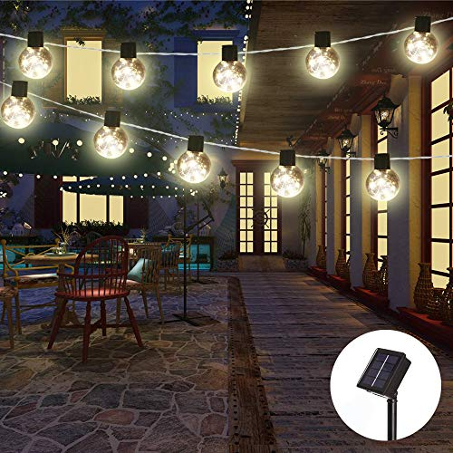 (Obrecis Solar Power 10 Bulb String Light, Warm White Vintage Edison Style Hanging Twinkle Lights for Yard, Tents, Market, Cafe, Gazebo, Outdoor Decor-15ft(Clear Bulb 1))