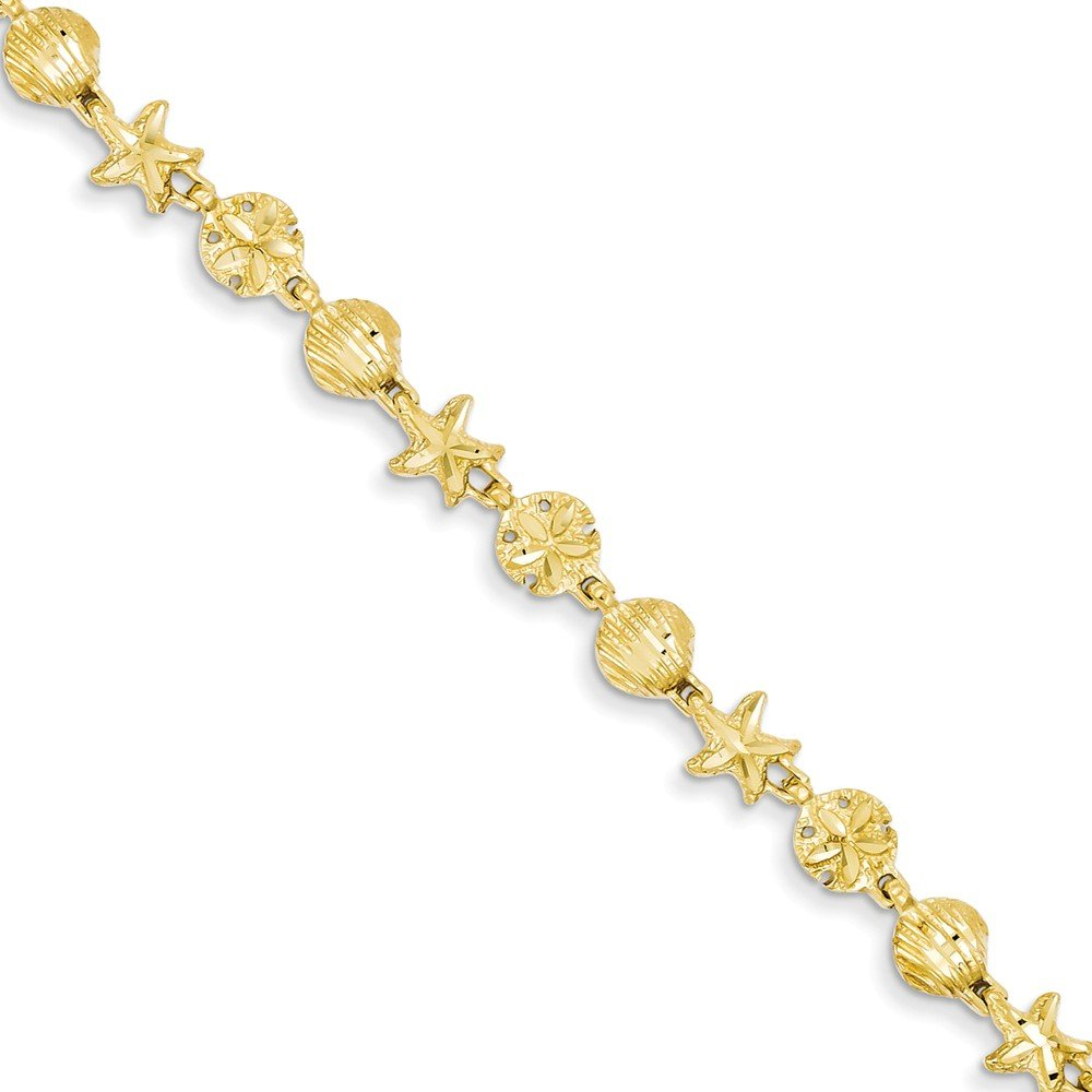 Jewel Tie 14k Gold Starfish Seashell & Sand Dollar Beach Theme Bracelet with Lobster Clasp (5.9mm) - Yellow-Gold, 7 in by Jewel Tie