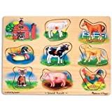 Melissa & Doug Farm Sound Puzzle - Wooden Peg Puzzle With Sound Effects (8 pcs)