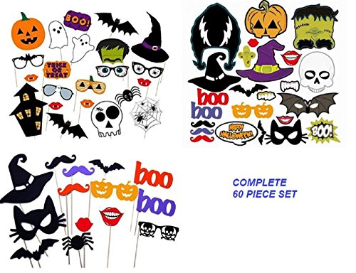 Halloween Party Photo Booth Props, Complete 60 Fun Prop Pieces for Photography and Photo Booth Pictures Easy DIY Kit by Jolly Jon - Do Photobooth It Yourself