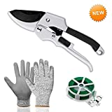 Morgofun Garden Tools Set, 3 Pieces Gardening Tool Set with Heavy Duty Garden Bypass Pruning Shears, Cut Resistance Gloves and Plant Rope, Best for Garden Gift