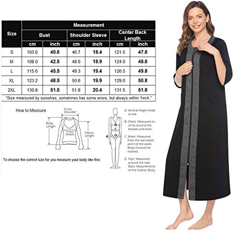 ADOME Women Zip Front Nightgown Robe Half Sleeve Full Length Duster Housecoat Loungewear with Pockets S-XXL
