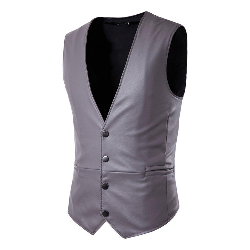 Hibote Gilet in pelle PU per uomo Slim Fit PU in pelle Mens Suit Gilet Casual senza maniche Giacca formale da lavoro B180715MW1-X