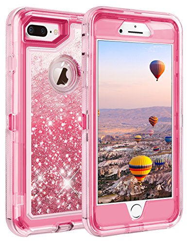 """iPhone 8 Plus Case, iPhone 7 Plus Case, Coolden 3D Glitter Sparkle Dual Layer Quicksand Liquid Cover Clear Shockproof Bumper Anti-Drop PC Frame + TPU Back for 5.5"""" Apple iPhone 7/8 + Plus (Pink)"""