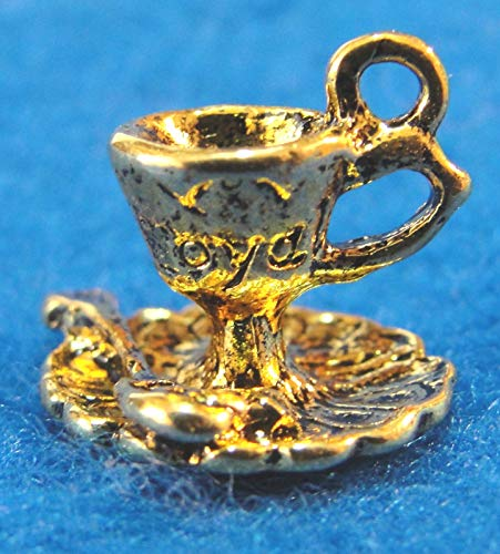 10Pcs. Tibetan Antique Gold 3D Coffee or Tea Cup Saucer Spoon Charms PR211 Crafting Key Chain Bracelet Necklace Jewelry Accessories Pendants