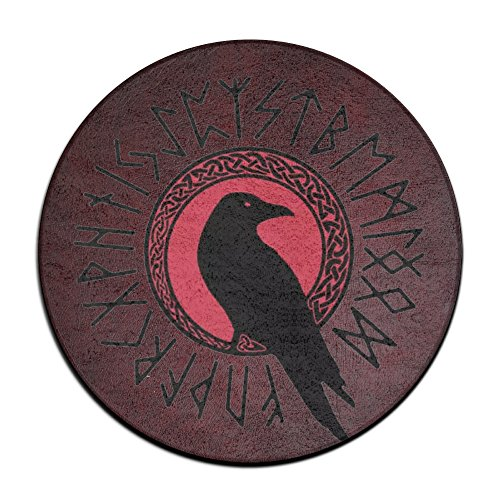 Non Slip Circular Mat (FUTHARK The Crow Of The Turning Back Circular Doormat Non-slip Thin Large Door Mat Memory Foam Floor Cushions)