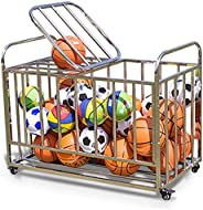Large Ball Storage Bin on Wheels, Garage Basketball Cage with Lockable Hinge Cover, Soccer Equipment Cart, Hol