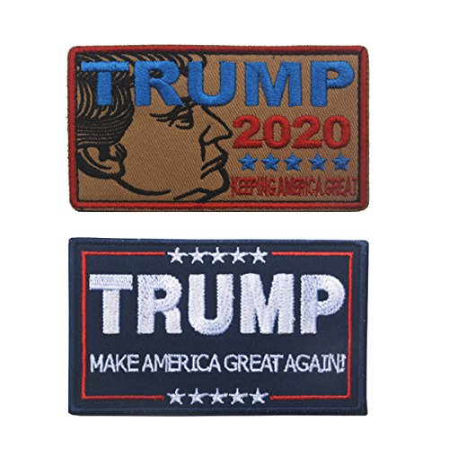 Trump 2020 Patch Sticker,Trump Make America Great Again Tactical Morale Military Emblem Embroidered Fastener Hook and Loop Patches Badges Applique for Clothes, Election Shirt, Camo Hat, Vest (2PCS)