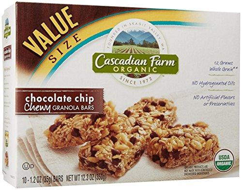 Cascadian Farm Chewy Granola Bar Organic non-GMO Chocolate Chip 10 - 1.2 oz Bars