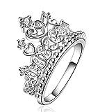 "Beydodo Womens Princess ""X"" Heart Crown Rings White Gold Plated Rhinestone Tiara Statement Rings Size 8"