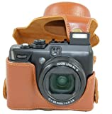"MegaGear ""Ever Ready"" Protective Light Brown Leather Camera Case, Bag for Canon PowerShot G1X , G1 X"