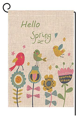 BLKWHT Hello Spring Garden Flag Vertical Double Sided 12.5 x 18 Inch Easter Bird Floal Yard Decor