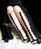 Sexy crochet Black Anklet, barefoot sandals, knee high gladiator boots, long lace, beach pool party, wedding shoes, Foot jewelry, leg chain, leglet, night out party, yoga, bellydance jewelry.