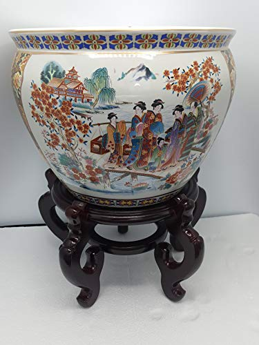 (Porcelain fish bowl - Imported from China and is painted in a Traditional Japanese Satsuma style pattern planter - 14