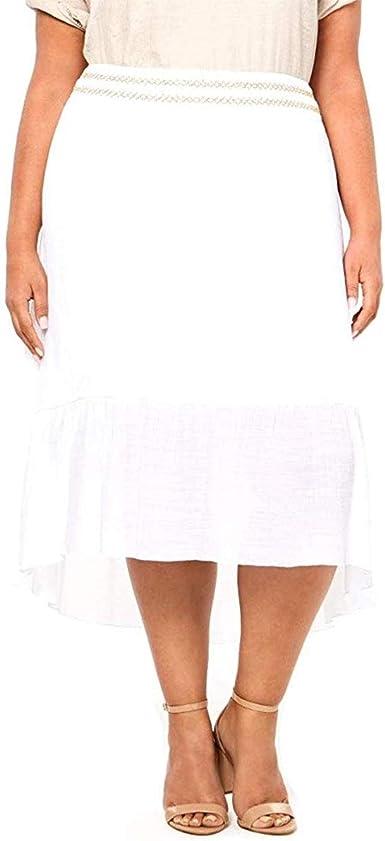 JM Collection Falda de Gasa con Forro de Talla Grande para Mujer ...