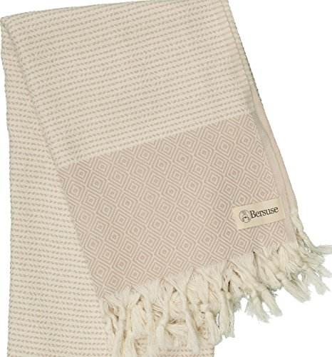 Bersuse-100-Cotton-Hierapolis-Handloom-Diamond-Weave-XL-Bed-Throw-Blanket-Pestemal-Peshtemal-Turkish-Towel-Beach-Bath-Fouta-60-x-95-Inches